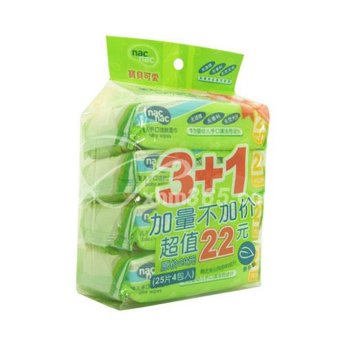 宝贝可爱婴儿手口洁肤湿巾25片4连包