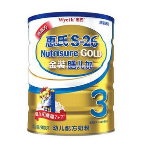惠氏(Wyeth)S-26金裝膳兒加 偏食寶寶奶粉3段 全營養配方 900克(罐裝)新配方
