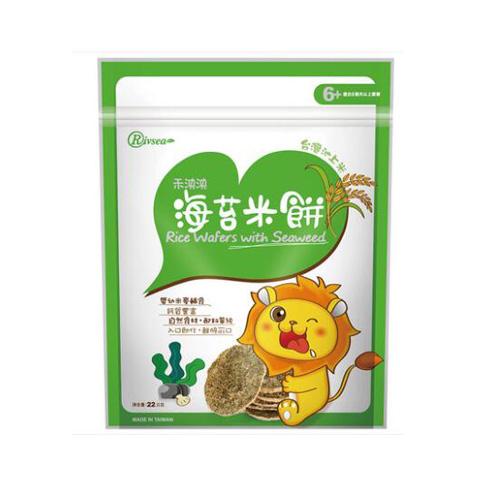 禾泱泱(Rivsea)台湾进口婴儿米饼海苔22g 婴儿零食磨牙饼干