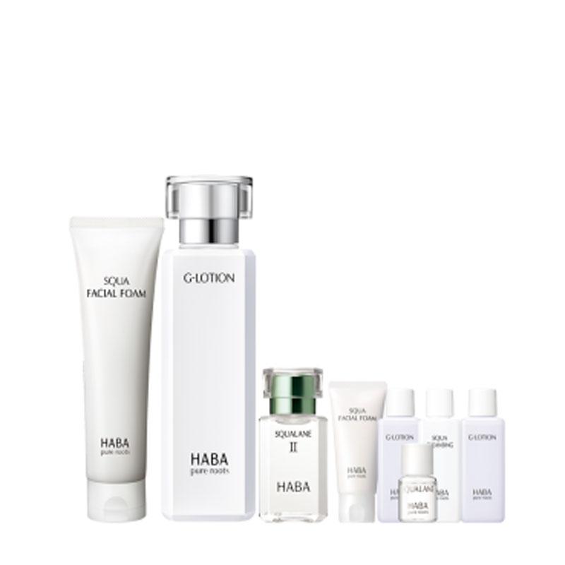 HABA 定制護膚套裝(潔面乳100g+柔膚水180ml+美容油二代15ml+卸妝油20ml+潔面30g++美容油4ml+柔膚水20ml*2)