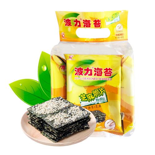 波力海苔 零食小吃  芝麻脆片48克