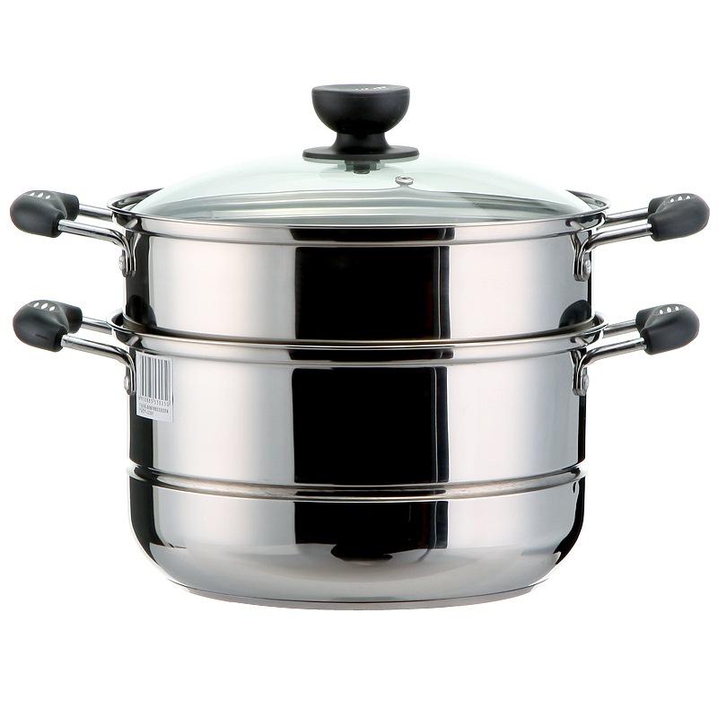 蘇泊爾 26cm蒸鍋雙層加厚復底304不銹鋼燃氣煤氣電磁爐通用鍋具蒸籠SZ26B5