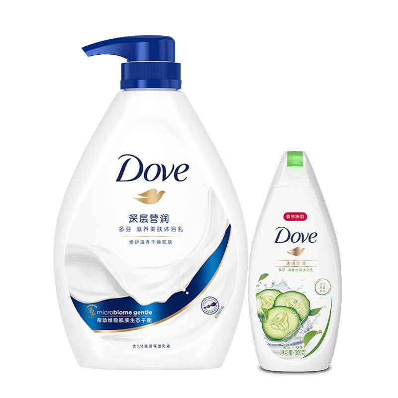 多芬(DOVE)沐浴露套裝 深層營潤1kg+清透水潤300g(沐浴乳)