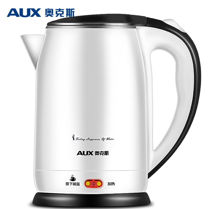 奥克斯(AUX) 电热水壶 304不锈钢烧水壶 保温双层防烫 HX-A6006 2L电水壶