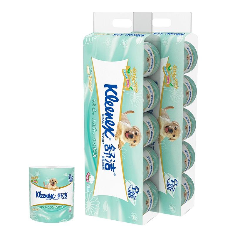 舒潔(Kleenex)衛生紙 綠茶洋甘菊印花清香3層卷紙 廁紙20粒裝