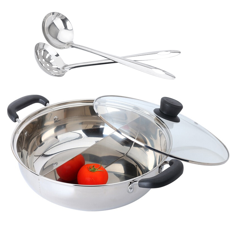 美厨(maxcook)304不锈钢鸳鸯火锅30cm 送一对火锅勺 一锅两味 燃气炉电磁炉通用MCDY-30