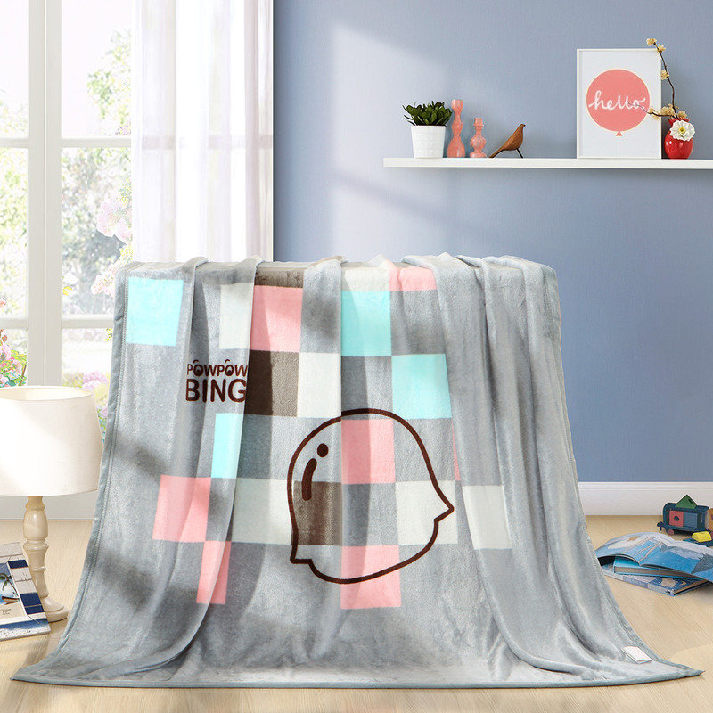 水星家纺 毛毯子午睡毯毛巾被 摩卡印象法兰绒空调毯 炮炮兵系列 加大双人毯被 180*200cm