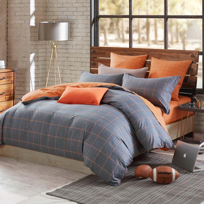 博洋家纺(BEYOND)床上用品 英伦格子条纹 全棉印花床单四件套 纯棉男士双人床品套件 绅士品格 1.8m
