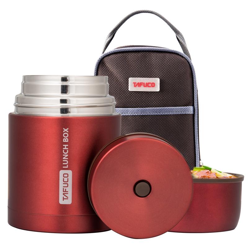 泰福高(TAFUCO)焖烧壶 304不锈钢焖烧杯学生保温焖烧罐保温粥桶 赠保温包 T-2010 雅红色 0.75L