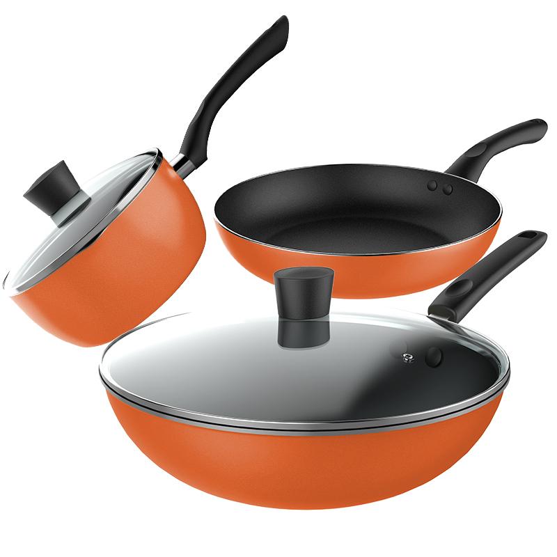美的(Midea)锅具套装不粘三件套锅含炒锅煎锅汤锅电磁炉燃气灶通用MP-SL0302A