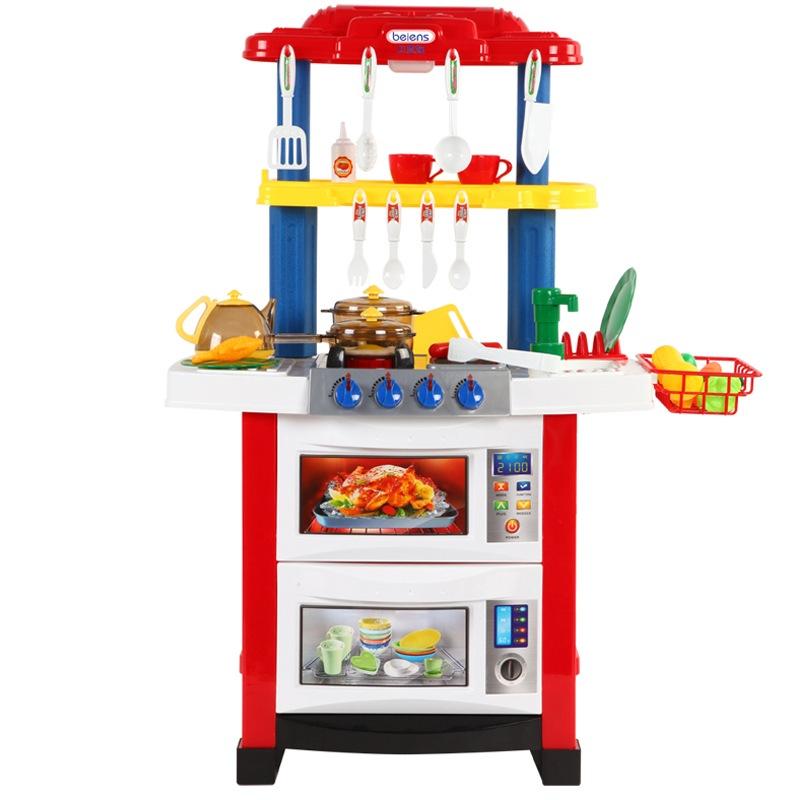贝恩施(beiens)益智玩具 儿童仿真过家家玩具角色扮演百变厨房套装718-1红色