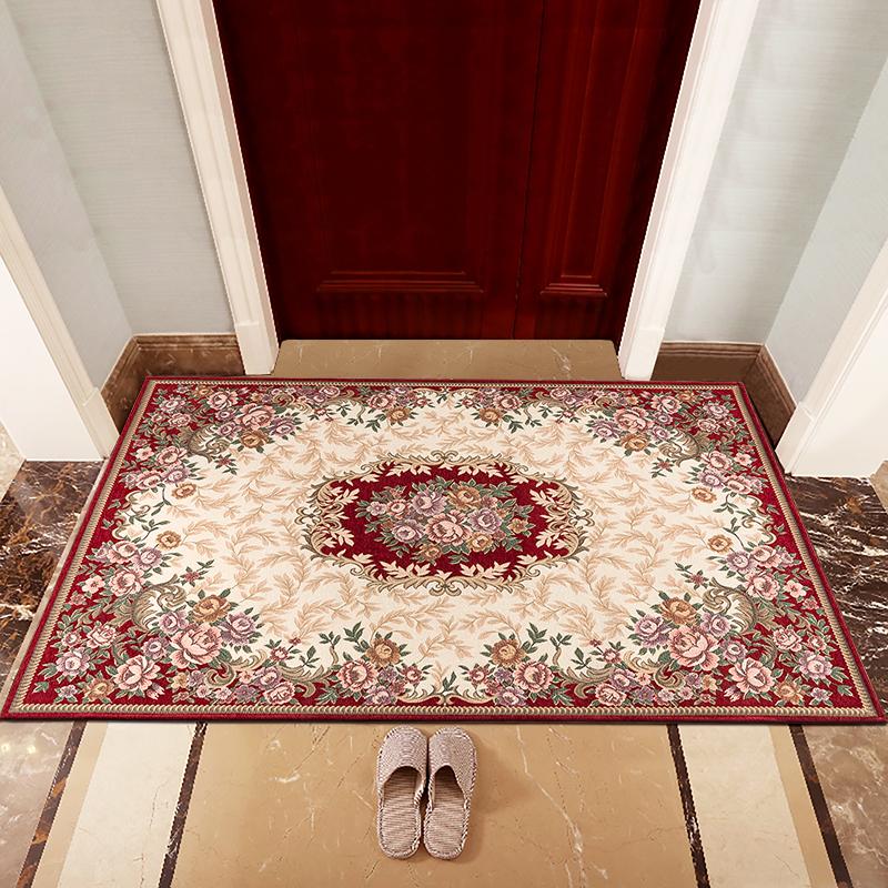 江南叶欧式典雅提花客厅卧室地毯玄关地垫入户门垫80*120cm酒红色