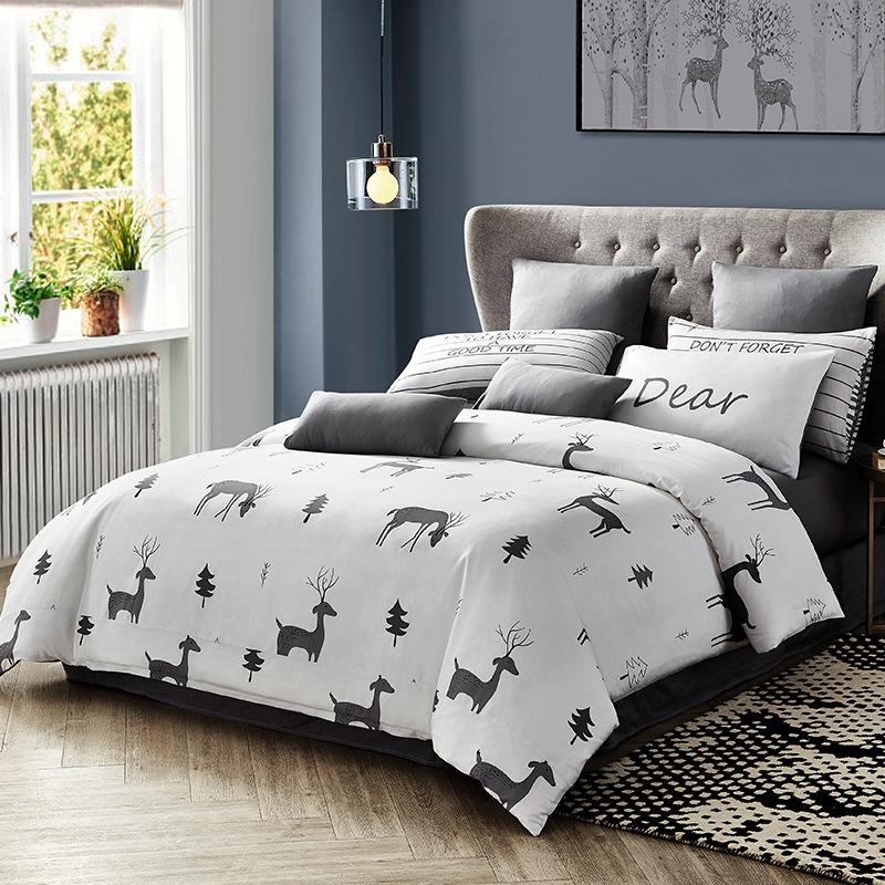 九洲鹿 套件家纺 全棉床上用品斜纹印花四件套 床单被套 记忆时光 1.5/1.8米床 200*230cm