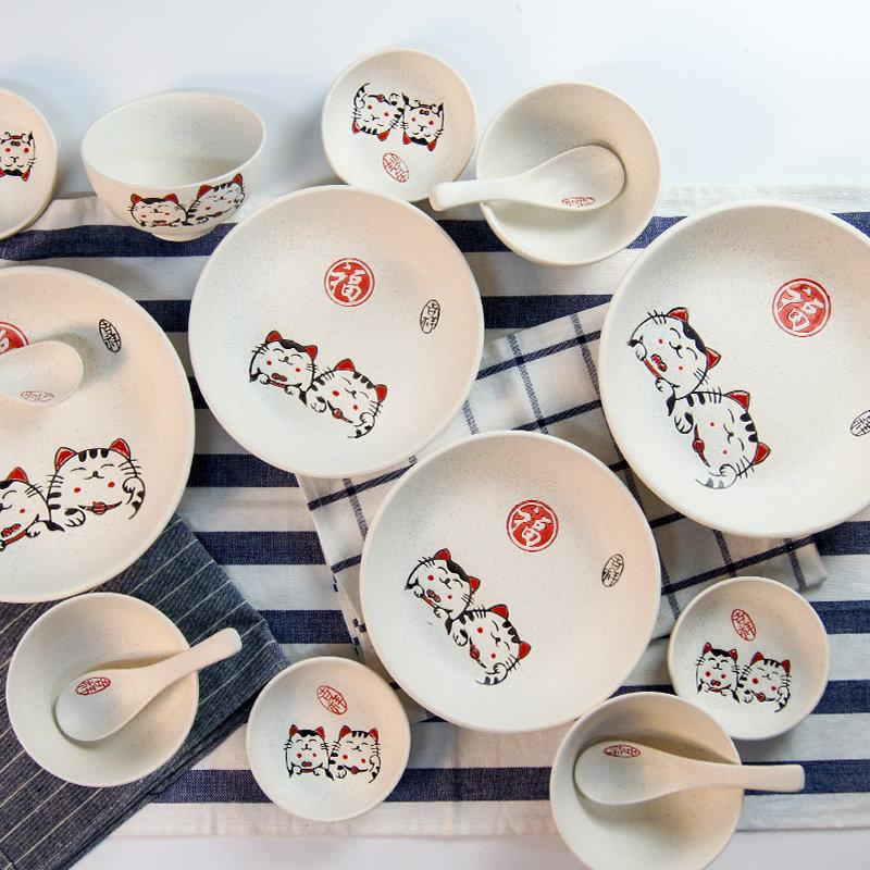 萌可陶瓷手绘碗碟套装福猫釉下彩时尚家用餐具16件套礼盒