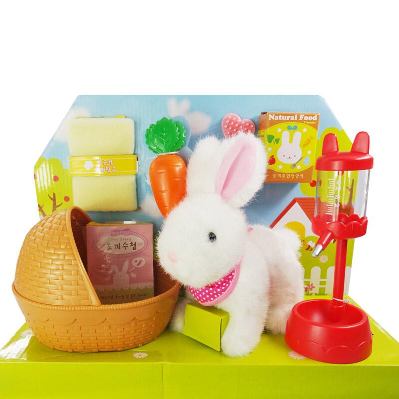 mimiworld 韩国玩具 白色拉比兔 儿童仿真电子宠物玩具场景套装 小女孩生日节日礼物 儿童模拟宠物玩具