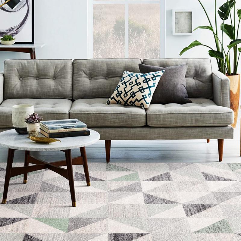 佳佰 北欧/宜家几何三角拼接茶几地毯客厅地毯床前毯 黛色魔方-JB-M-03 133CM*190CM