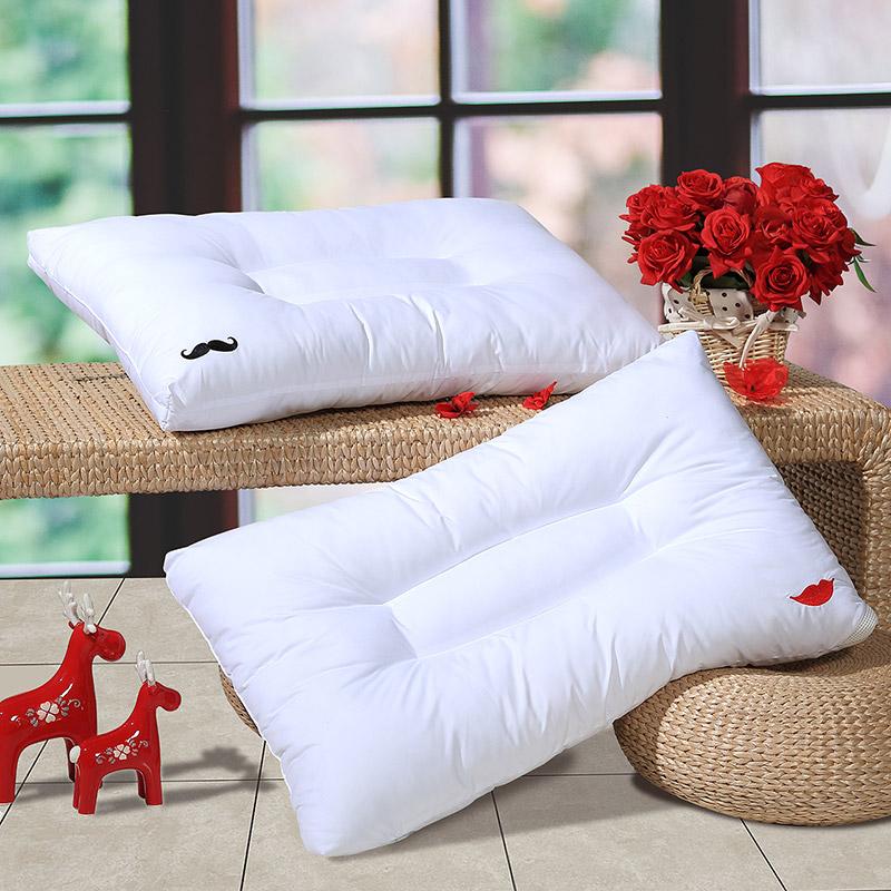 富安娜(FUANNA)家纺枕芯可水洗纤维枕婚庆情侣枕头 舒柔枕 蜜唇女士 74*48cm