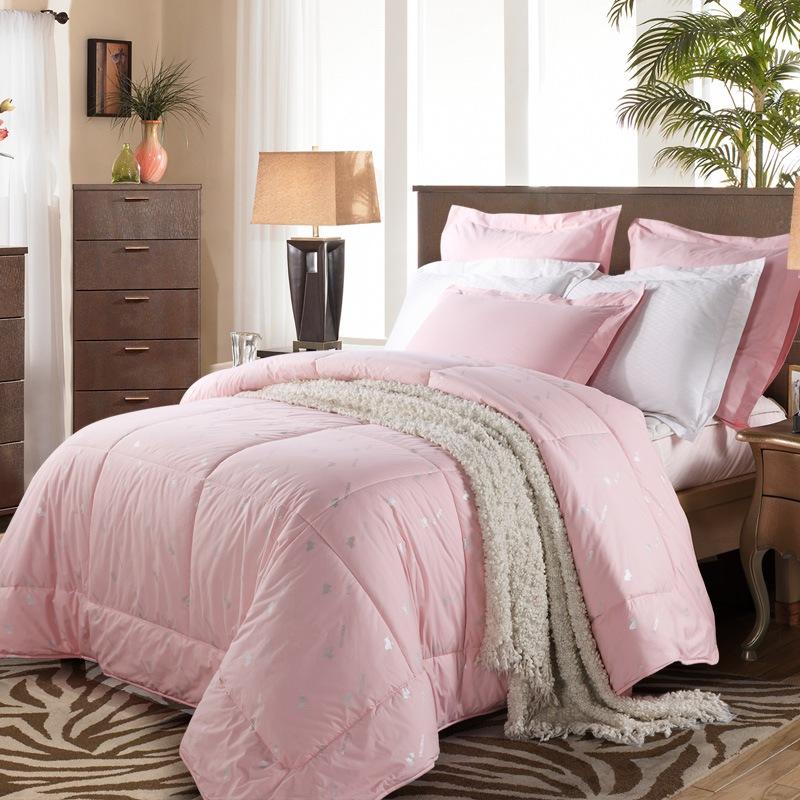 水星家紡 100%羊毛被春秋被 床上用品被子被芯 加大雙人被子220*240cm 粉色