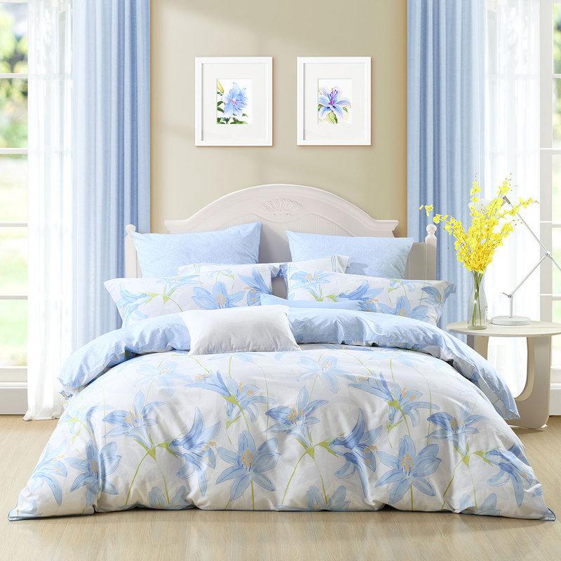 百丽丝 水星家纺出品 床上四件套纯棉 全棉床品套件床单被罩被套 床上用品 蓝百合 加大双人1.8米床