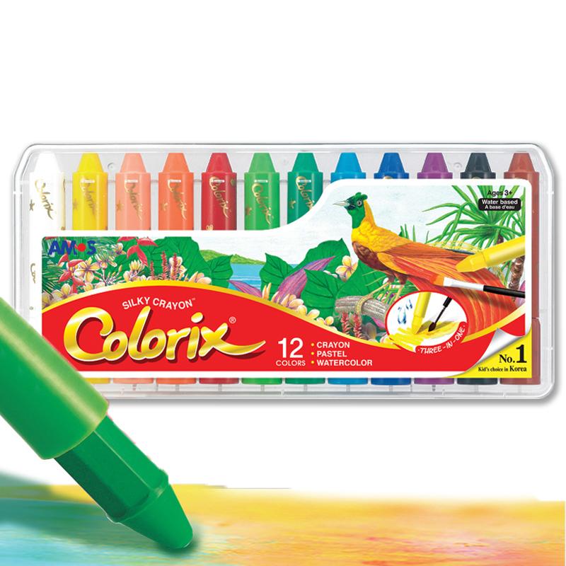 AMOS韩国进口旋转可水洗蜡笔/粉彩/水彩三合一儿童绘画工具 12色粗杆塑料盒装