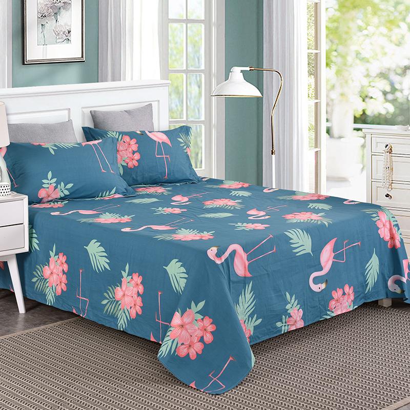 艾薇 床单家纺 纯棉双人床单被单 单件 火烈鸟 1.5/1.8米床 230*250cm