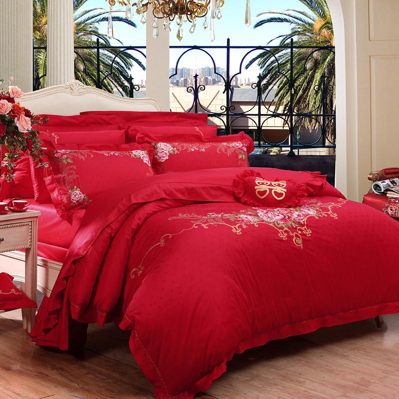 富安娜家紡婚慶六件套 純棉小提花婚慶加大1.8米床適用(230*229cm) 永恒愛戀 紅色