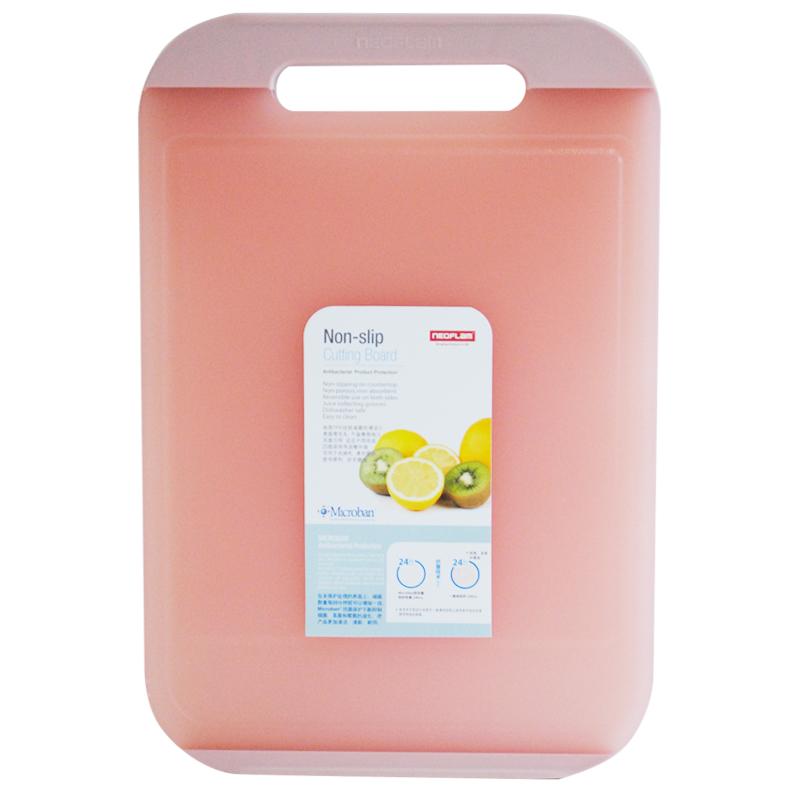 Neoflam 双面抗菌抑菌防滑易清洗菜板 水果板塑料砧板带防溢导流槽CB-FL-L44-P透明粉大号
