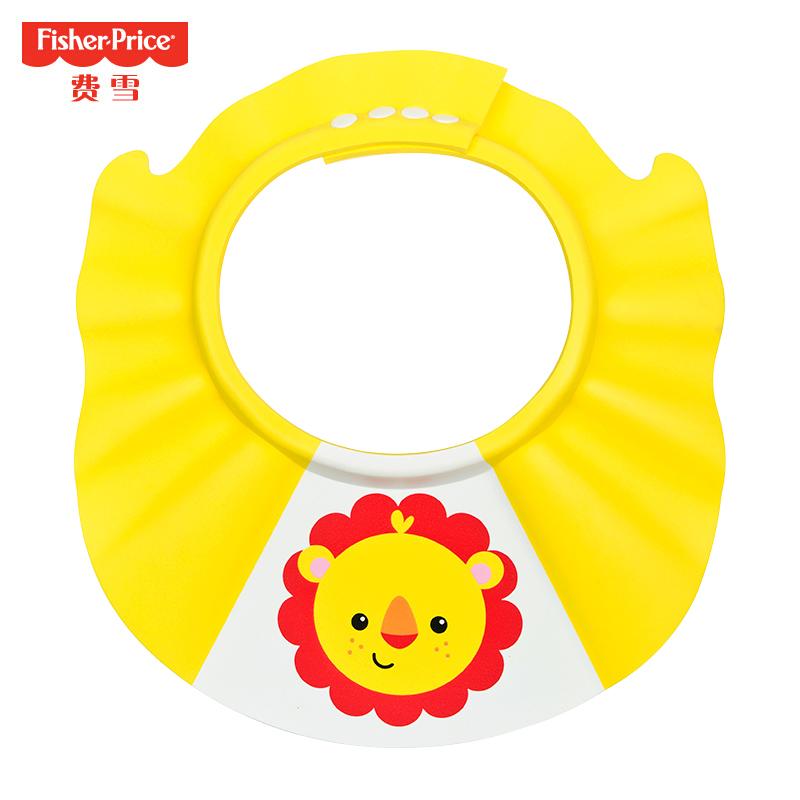 费雪(Fisher Price)婴幼儿洗头帽浴帽防水护耳儿童洗发帽宝宝洗澡洗头神器可调节 黄色小狮子