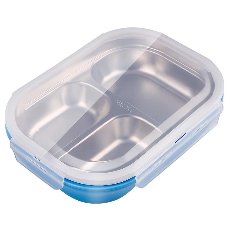金钥匙(GOLDEN KEY)304不锈钢 分格饭盒双层隔热防烫学生便当盒 蓝色三格GK-300KC-B