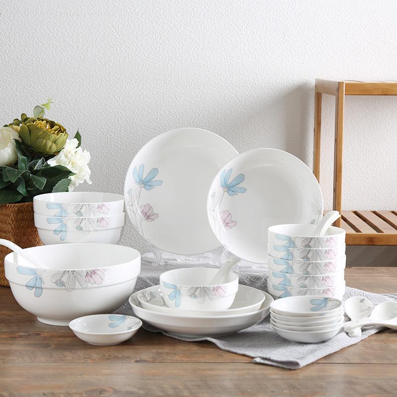 顺祥 陶瓷餐具 碗碟套装厨房套件 釉上彩28头套装 (宁?#34453;?#22812;)