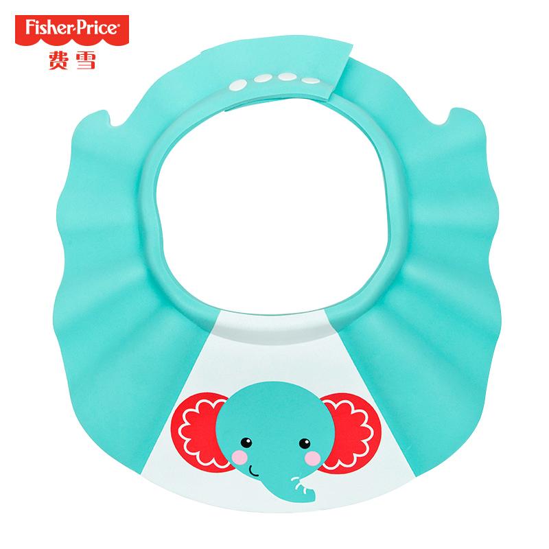 费雪(Fisher Price)婴幼儿洗头帽浴帽防水护耳儿童洗发帽宝宝洗澡洗头神器可调节 蓝色小象
