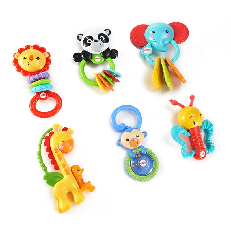 费雪 Fisher-Price 早教婴儿牙胶摇铃玩具组 缤纷动物礼盒 FBH62