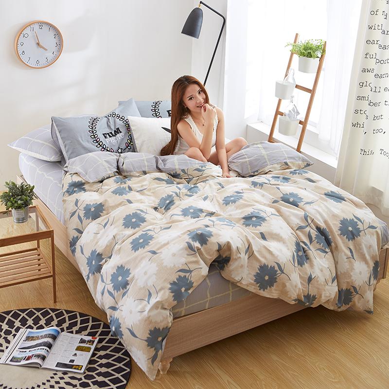 九洲鹿 套件家纺 全棉床上用品斜纹印花四件套 床单被套 玛奇朵 1.5/1.8米床 200*230cm