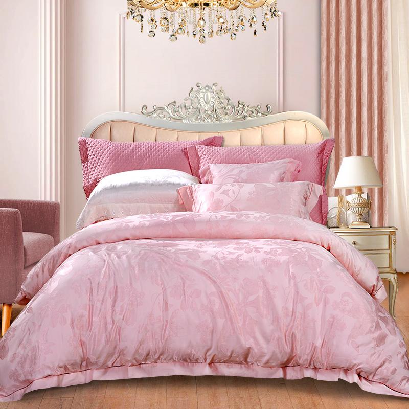 富安娜家纺 床上用品四件套欧式提花床品套件床单被套 高档单双人罗纳河上的星夜1米8/1米5床(230*229cm)粉色