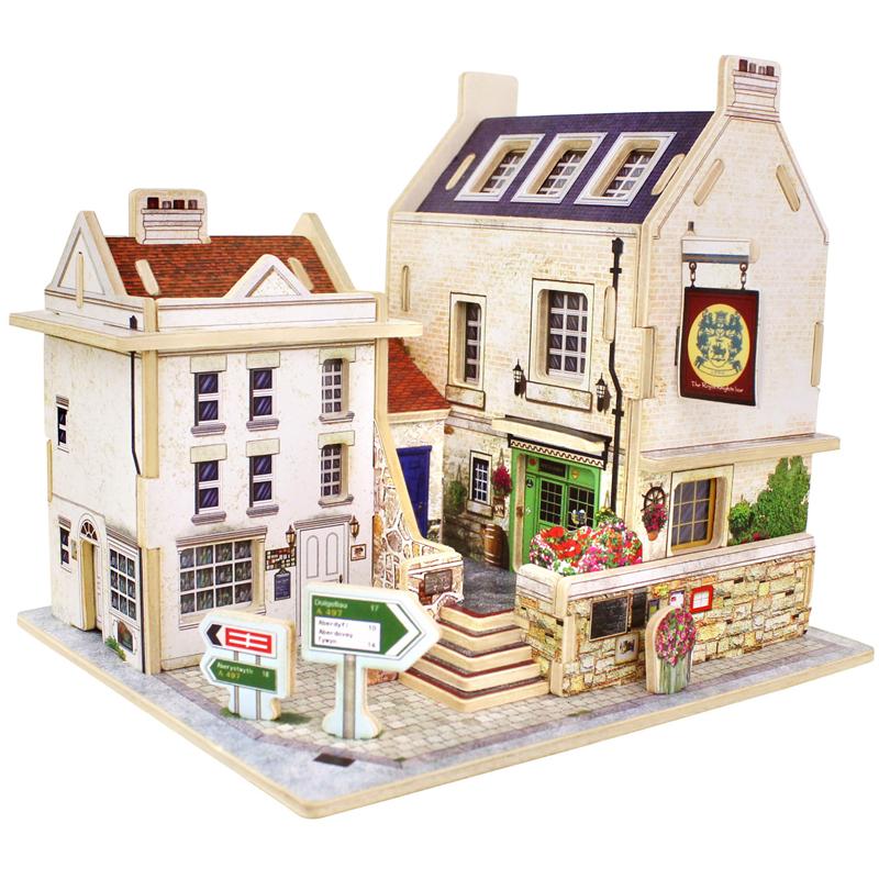 若态 儿童积木玩具 立体木质拼图 拼装模型 手工拼插积木英国酒吧小屋F133