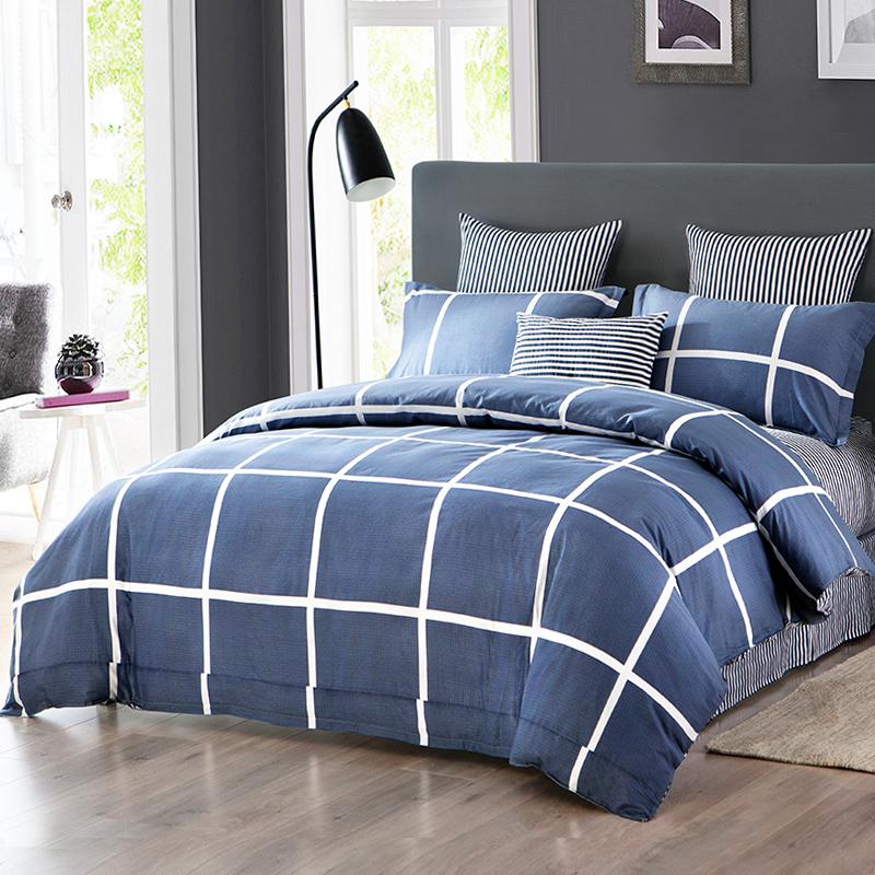 九洲鹿 套件家纺 全棉床上用品斜纹印花双人床四件套 床单被套 1.5/1.8米床 200*230cm