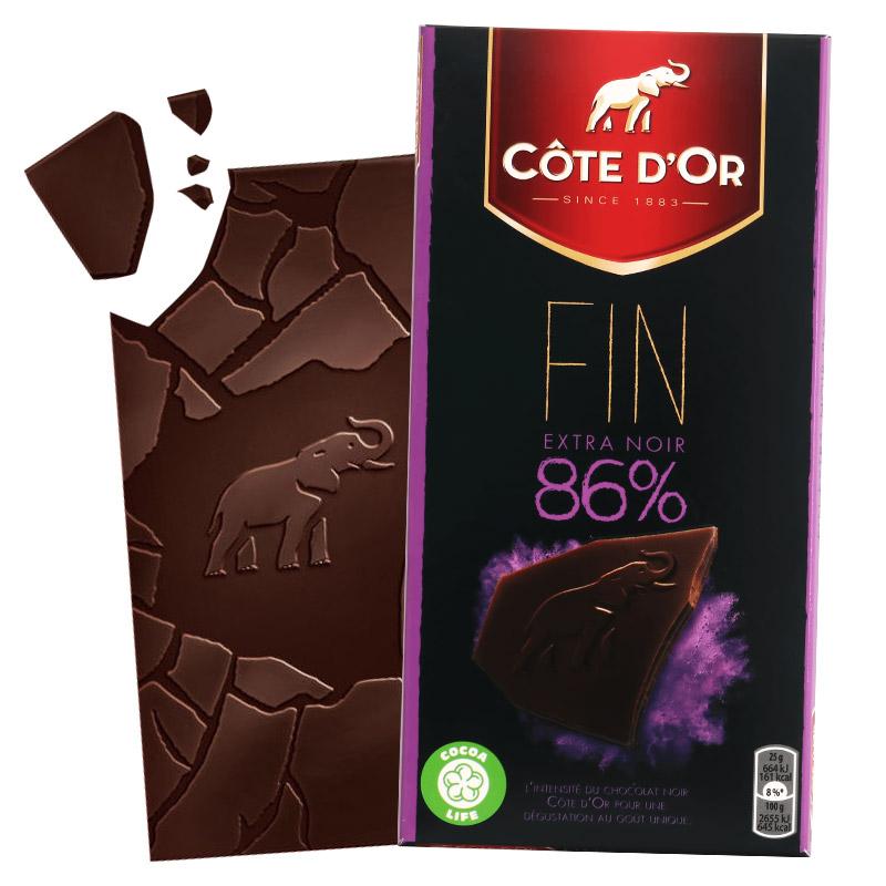 比利时进口克特多金象86%可可黑巧克力100g --排装