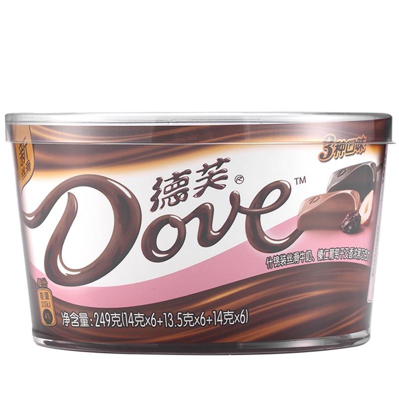 德芙Dove巧克力分享碗装 什锦牛奶榛仁葡萄干巧克力糖果巧克力休闲零食249g