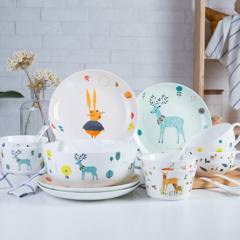 悠米兔yomerto 卡通餐具套装骨瓷釉中彩碗碟套装 18头多彩鹿