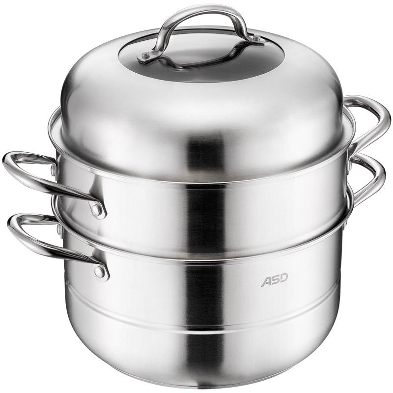 愛仕達 蒸鍋 30cm蒸鍋 304不銹鋼二層蒸籠多層鍋加厚復底電磁爐通用 JX1530K