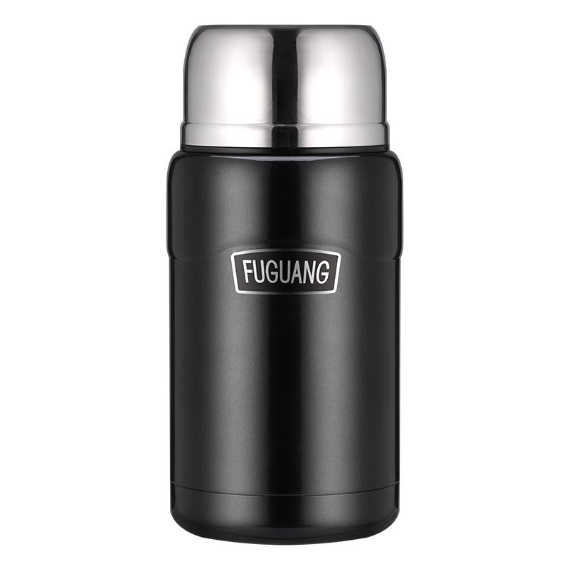 富光 304真空不锈钢焖烧罐男女便携保温杯焖烧杯保温饭盒赠送餐勺黑色 750ML(FGL-3636)
