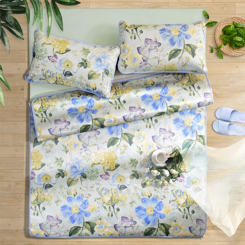 富安娜(FUANNA)家纺 床上用品 冰丝席空调席可折叠双人凉席三件套防滑绑带 冰丝印花席 江南春 蓝色1.5米床