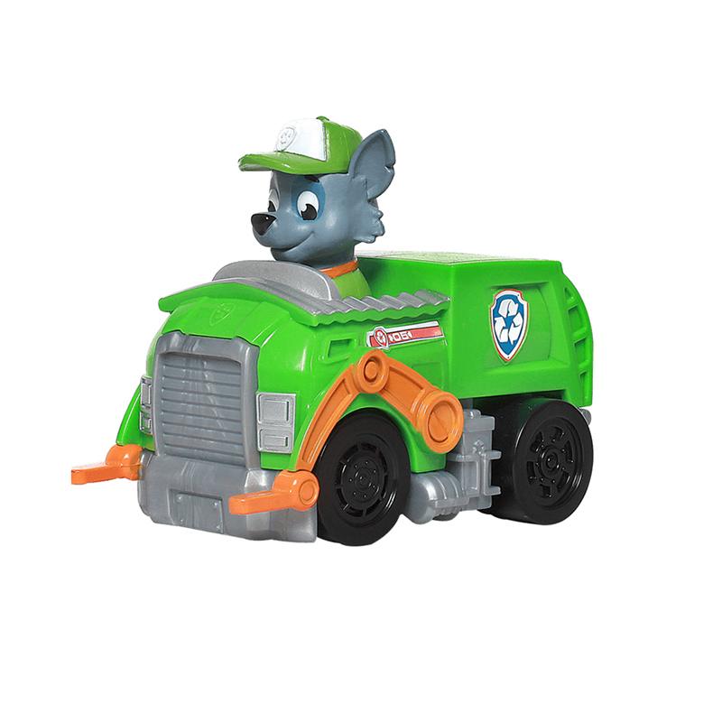 汪汪队立大功(PAW PATROL)狗狗巡逻队全套模型车 儿童男女孩玩具车套装 救援赛车系列-环保回收车+灰灰