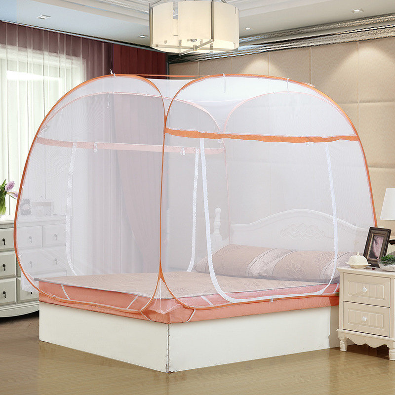 水星家纺(MERCURY) 婕妤可折叠式方顶蒙古包蚊帐(浅橙) 加大双人床 1.8米床