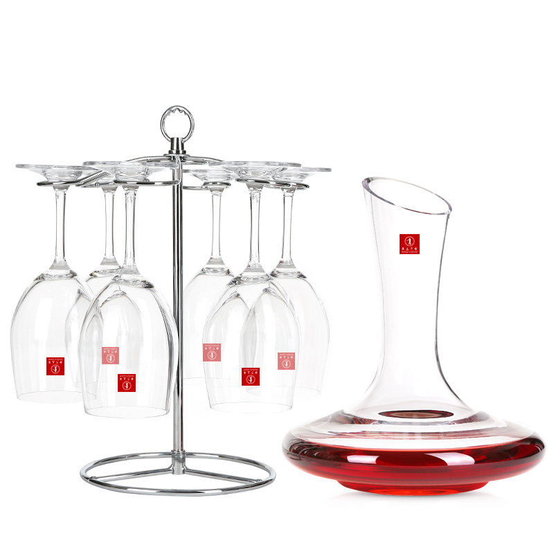 手工之家水晶红酒杯酒具7件套装6红酒杯1手工醒酒器
