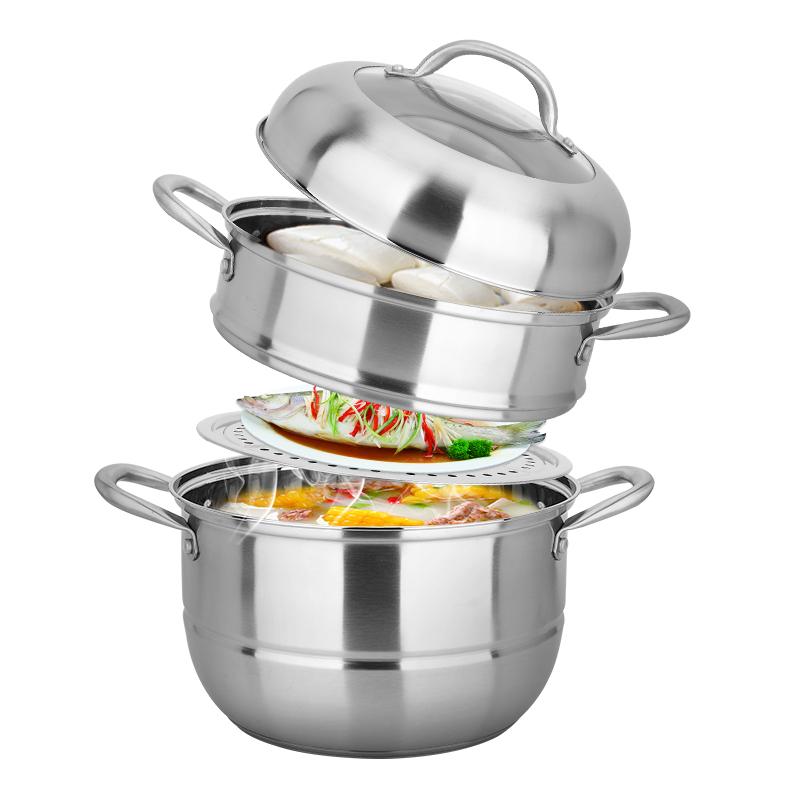 美廚(maxcook)不銹鋼二層蒸鍋 26CM復底 雅銀系列 MCZ-177 加厚 蒸煮兩用 可用電磁爐