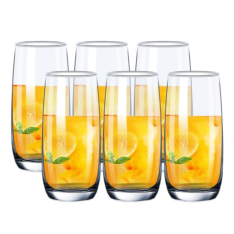 Ocean进口透明耐热玻璃杯子家用水杯牛奶杯茶杯艾弗利直身杯370ml六只套装