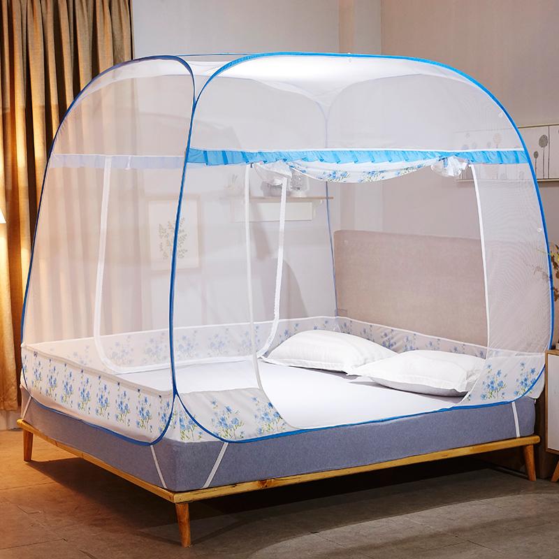 南極人(Nanjiren) 免安裝可折疊拉鏈蚊帳三開門坐床式宮廷蚊帳蒙古包 淺藍  1.5米床
