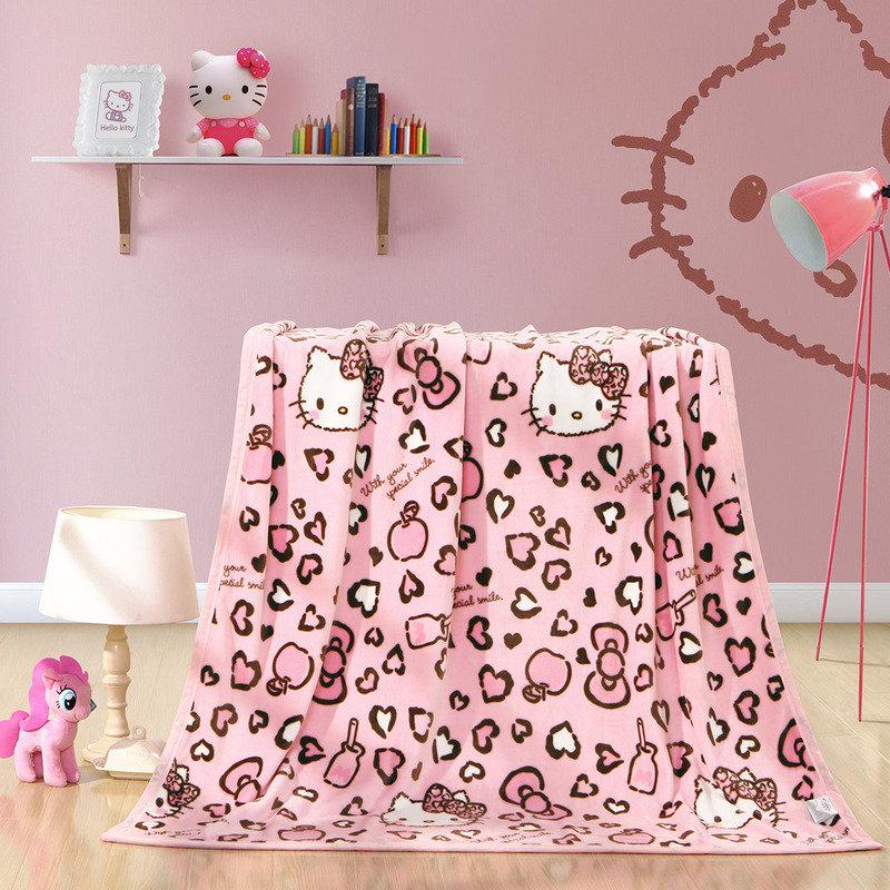 水星家纺 毛毯子午睡毯毛巾被 登KT法兰绒空调毯 凯蒂猫 加大双人毯被 180*200cm