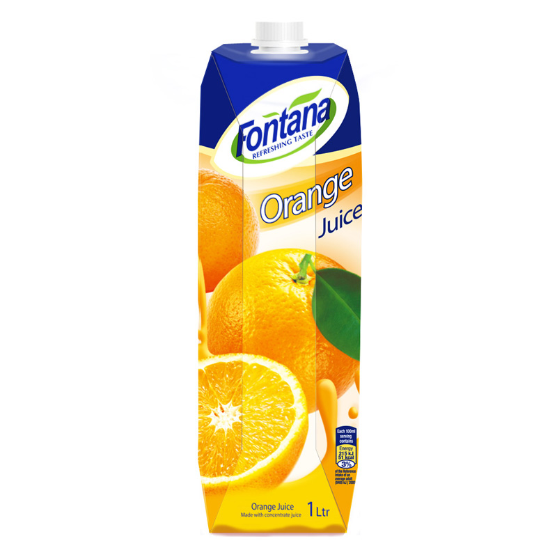 地中海塞浦路斯进口 芳塔娜(Fontana)橙汁100%纯果汁 1L*4瓶 果汁饮料 整箱 礼盒装